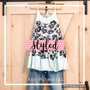 Free People turquoise floral tunic tank